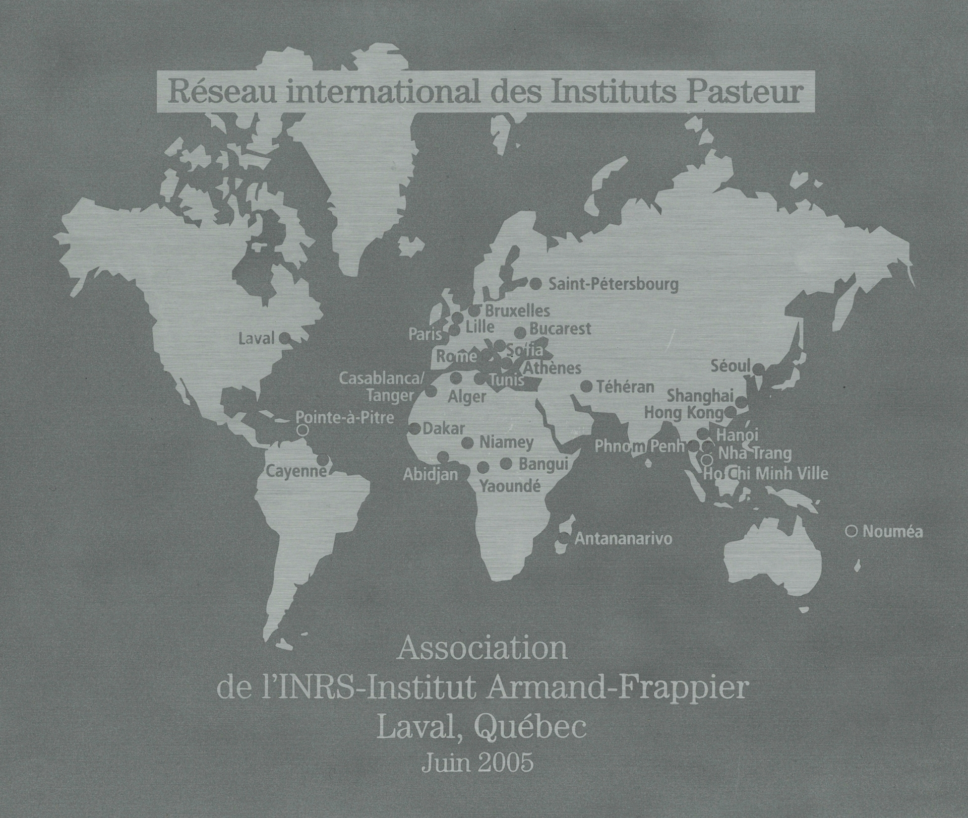 Plaque Réseau international des Instituts Pasteur